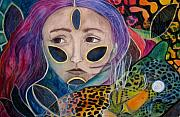 Rainbow Pastels Metal Prints - Leopard Woman Metal Print by Kimberly Kirk