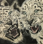 Leopards Paintings - Leopards third of four by Cynthia Farmer