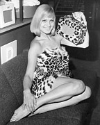 Fashion Model Photography Posters - Leopardskin Radio Poster by Hulton Collection