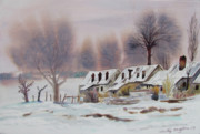 Kashmir Painting Originals - Leper Colony in Kashmir Winter by Tim Houghton