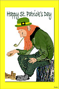 Patricks Day Card Framed Prints - Leprechaun Pattys Day Card  Framed Print by Debra     Vatalaro