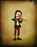 Leprechaun Digital Art - Leprechaun playing the violin by John Junek