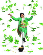 Male Elf Posters - Leprechaun Tossing Shamrock Leaves up in the Air Poster by Oleksiy Maksymenko