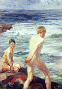 Seashore Paintings - Les Baigneurs by Jean Delvin