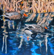Mallard Ducks Paintings - Les canards dhiver  -  Winter Ducks by Carla Stein