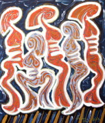 Outsider Art Mixed Media - Les Demoiselles ... by Gregory Theobal