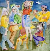 Beach Scene Painting Originals - Les Demoiselles of Santa Cruz V3 by Susan Cafarelli Burke