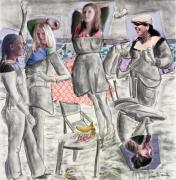 Girls Mixed Media Originals - Les Demoiselles of Santa Cruz V8 by Susan Cafarelli Burke