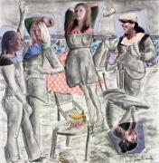Les Demoiselles Of Santa Cruz V8 Print by Susan Cafarelli Burke