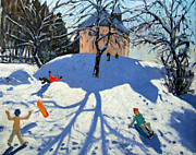 Sleds Prints - Les Gets Print by Andrew Macara