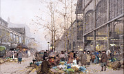 Crowd Scene Framed Prints - Les Halles and St. Eustache Framed Print by Eugene Galien-Laloue