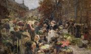 Crowd Scene Paintings - Les Halles by Leon Augustin Lhermitte