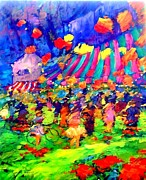 Concert Painting Originals - Les lampions pres du village by Valtier