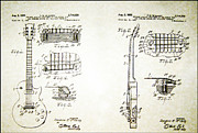 Les Paul Gibson Framed Prints - Les Paul Guitar Patent 1955 Framed Print by Bill Cannon