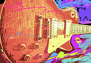 Rock Guitar Paintings - Les Paul Sunburst by David Lloyd Glover