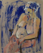 Seated Nude Drawing Prints - Lesley on blue Print by Joanne Claxton