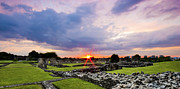 Old Ruins Framed Prints - Lesnes Abbey Ruins Sunset Framed Print by Dawn OConnor