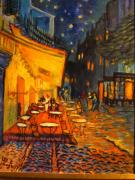 Night Cafe Framed Prints - Less Van Gogh Night Cafe  Framed Print by Les Smith