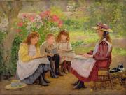 Oil Cat Paintings - Lesson in the Garden by Ada Shirley Fox