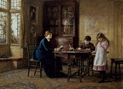 Girl Studying Posters - Lessons Poster by Helen Allingham