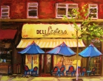 Montreal Citystreet Scenes Paintings - Lesters Cafe by Carole Spandau