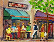 Montreal Restaurants Paintings - Lesters Deli Montreal Cafe Summer Scene by Carole Spandau