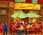 Montreal Sidewalk Terraces Acrylic Prints - Lesters Monsieur Smoked Meat Acrylic Print by Carole Spandau