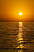 Fishing Boat Sunset Posters - Lesvos Sunset Poster by Meirion Matthias