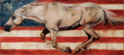Wild Horse Paintings - Let Freedom Run by Mary Leslie
