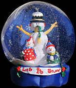 Snow Globe Posters - Let it snow Poster by Christine Till