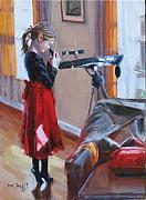 Telescope Paintings - Let Me See by Laura Lee Zanghetti