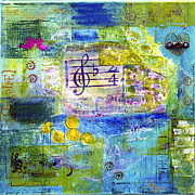 Live Music Mixed Media Posters - Let Music Into Your Heart Poster by Diana Cox