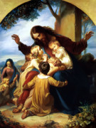 Jesus Painting Metal Prints - Let the Children Come to Me Metal Print by Carl Vogel von Vogelstein
