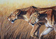 Cats Pastels Prints - Let the Hunt Begin Print by Deb LaFogg-Docherty