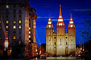 Salt Lake Temple Prints - Let Your Light Shine Print by La Rae  Roberts