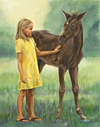 Little Girl Prints - Lets be Friends Print by Bob Wilson