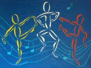 Musical Notes Painting Originals - Lets Dance by Pamela Allegretto
