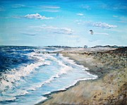 Sea Shore Prints Painting Originals - Lets Go Fly A Kite by Shana Rowe