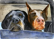 Two Dogs Prints - Lets Go For a Ride Print by Sheryl Heatherly Hawkins