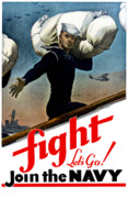 World War Two Posters - Lets Go Join The Navy Poster by War Is Hell Store
