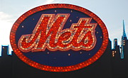 League Framed Prints - Lets Go Mets Framed Print by Richard Bryce