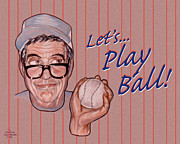 Sports Drawings Prints - Lets Play Ball Print by Dia T