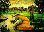 South Pastels Prints - Lets Play Golf Print by Patricia L Davidson