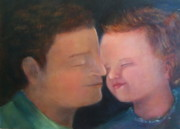 Fathers Paintings - Lets Rub Noses by Rachelle Zukerman