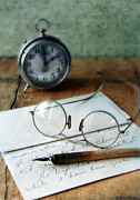 Bedside Table Photo Framed Prints - Letter Pen Glasses and Clock Framed Print by Jill Battaglia