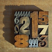Old Objects Photos - Letterpress Numbers by Daryl Benson