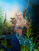 Mermaid Digital Art Prints - Letting Go Print by Karen Koski