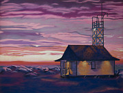 Pink Sunset Pastels Posters - Leuty Life Guard House Poster by Tracy L Teeter