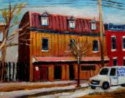 Factories Painting Framed Prints - Levine Brothers Plumbers Montreal Framed Print by Carole Spandau