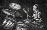 Drummer Drawings Metal Prints - Levon Helm in Charcoal Metal Print by Denny Morreale
